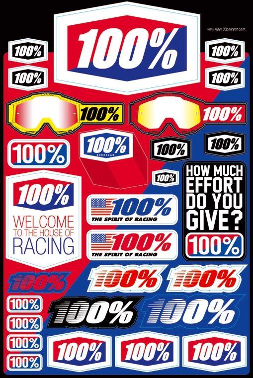 【100%】貼紙組 - 「Webike-摩托百貨」