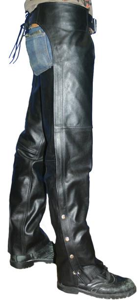 【MOTOBLUEZ】【HEAVY RED LABEL】 牛油皮低腰Chaps(顏色:Black)  - 「Webike-摩托百貨」
