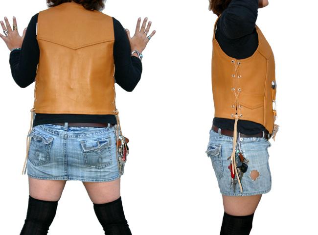 【MOTOBLUEZ】[女用]【HEAVY RED LABEL】 上油皮革背心(黃褐) - 「Webike-摩托百貨」