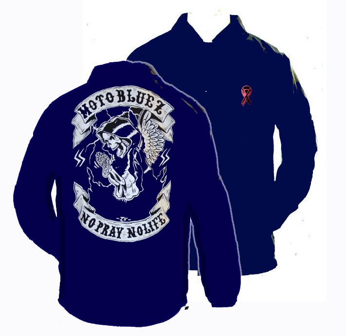 【MOTOBLUEZ】【HEAVY】Motobluez原廠Charity Coach外套(NO PRAY NO LIFE) 海軍藍 - 「Webike-摩托百貨」