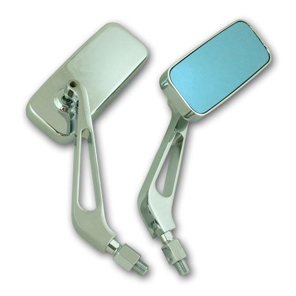 【RISE CORPORATION】(電鍍)細方型 藍色後視鏡 (10mm) - 「Webike-摩托百貨」