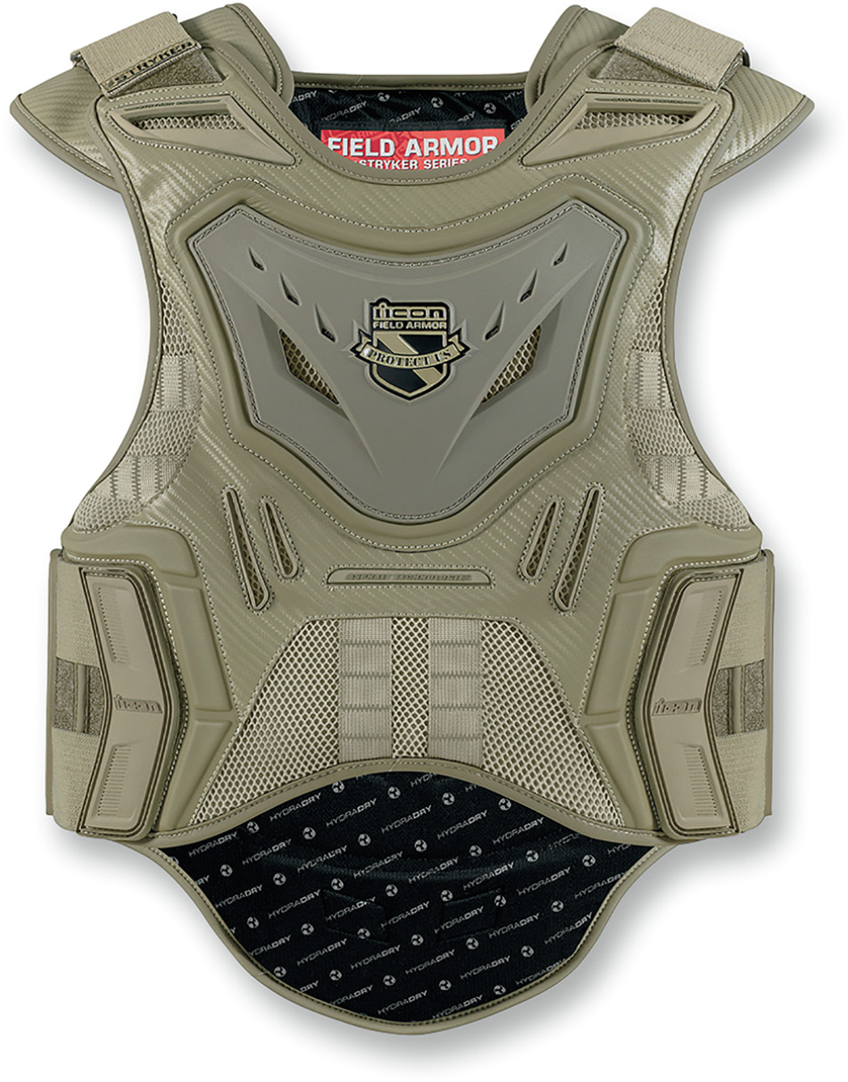 ICON STRYKER VEST FIELD ARMOR STEALTH BLACK MOTORCYCLE STREET OFFROAD RIDING CE