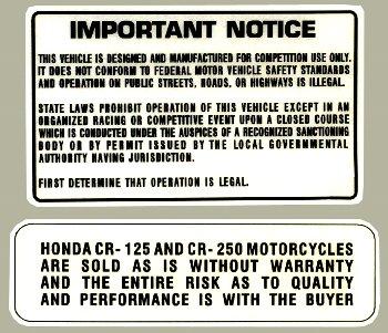 【HollyEquip】1976-78 HONDA CR125 1976-77 CR250 Elsinore Warning 貼紙 - 「Webike-摩托百貨」