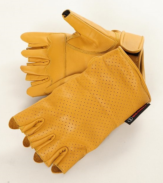 Mesh Leather Half Gloves
