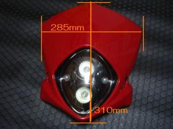 【KN企劃】MotoCross 頭燈整流罩  (垂直型/雙燈)【紅色】 - 「Webike-摩托百貨」
