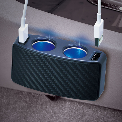 【SEIWA】雙向USB碳纖維插座 - 「Webike-摩托百貨」
