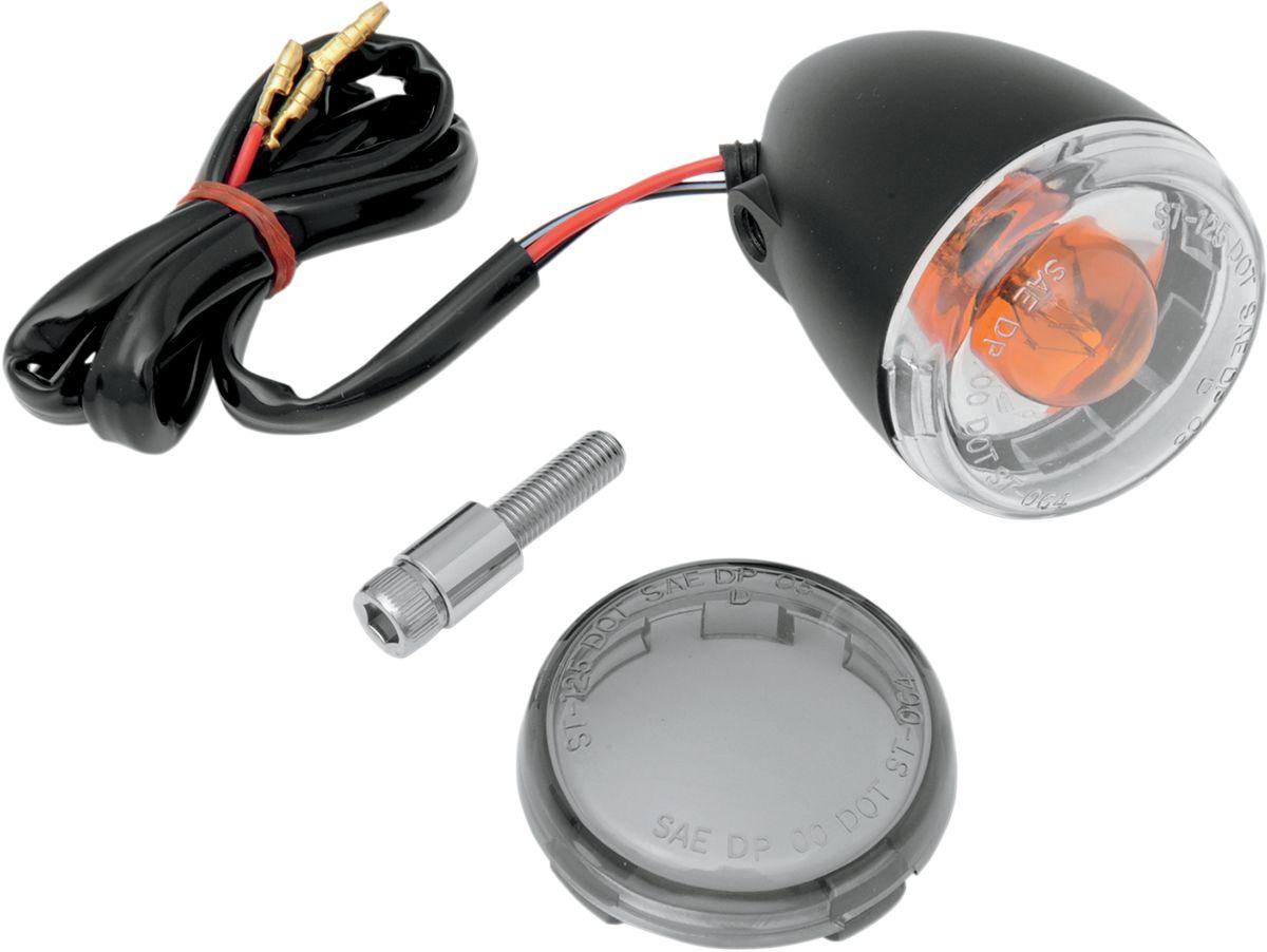 【Drag Specialties】前方向燈/黑色/燻黑色 【LIGHT T/S UNIV F BLK/SMK [2020-0417]】 - 「Webike-摩托百貨」