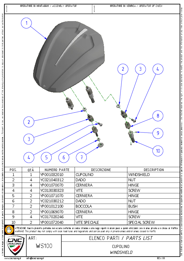 【CNC Racing】DUCATI XDIAVEL 用風鏡 燻黑色 - 「Webike-摩托百貨」
