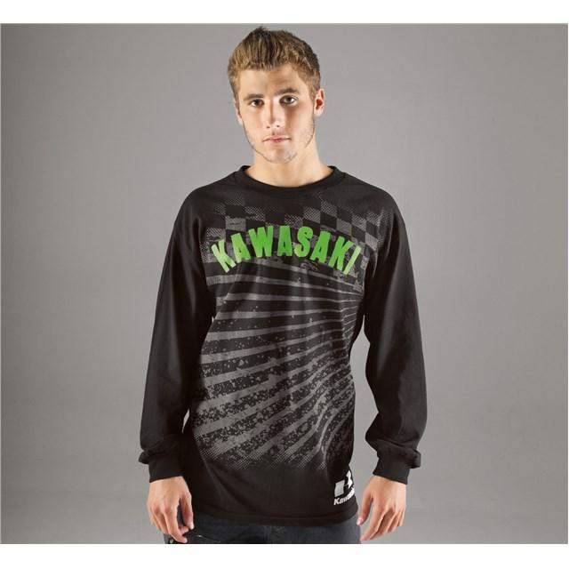【US KAWASAKI】Checkered Rays 長袖 T恤 - 「Webike-摩托百貨」