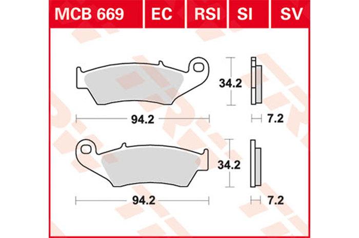 TRW ティーアールダブルBRAKE-PADS ORGANIC Scooters and Offroad [MCB669EC]