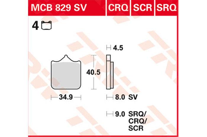 TRW ティーアールダブルBRAKE-PADS SINTER [MCB829SV]