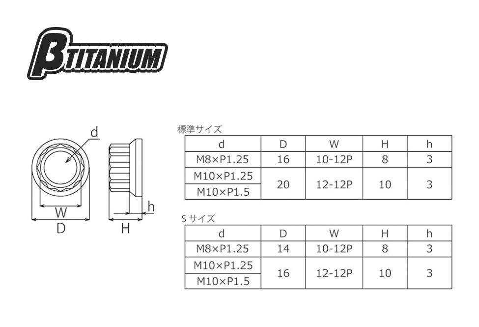 【βTITANIUM】12P 墊圈頭螺帽/S尺寸 M12 - 「Webike-摩托百貨」