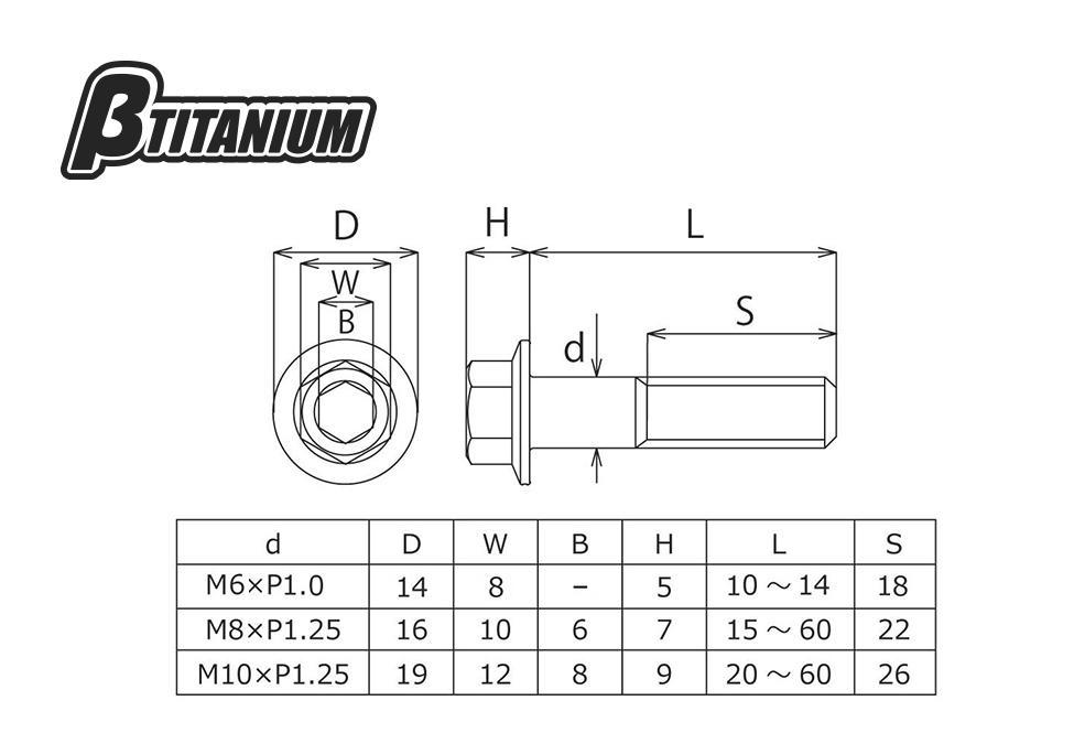 【βTITANIUM】墊圈頭六角螺絲/M10 - 「Webike-摩托百貨」