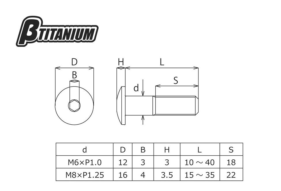 【βTITANIUM】圓頭螺絲 (低頭)/M8 - 「Webike-摩托百貨」