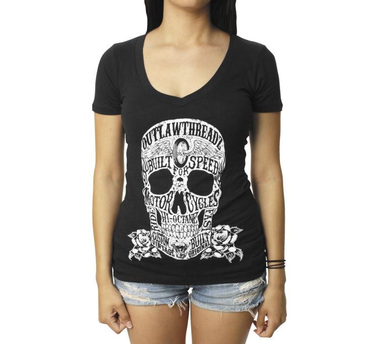 【Outlaw Threadz】Moto Skull 女用V領T恤 - 「Webike-摩托百貨」