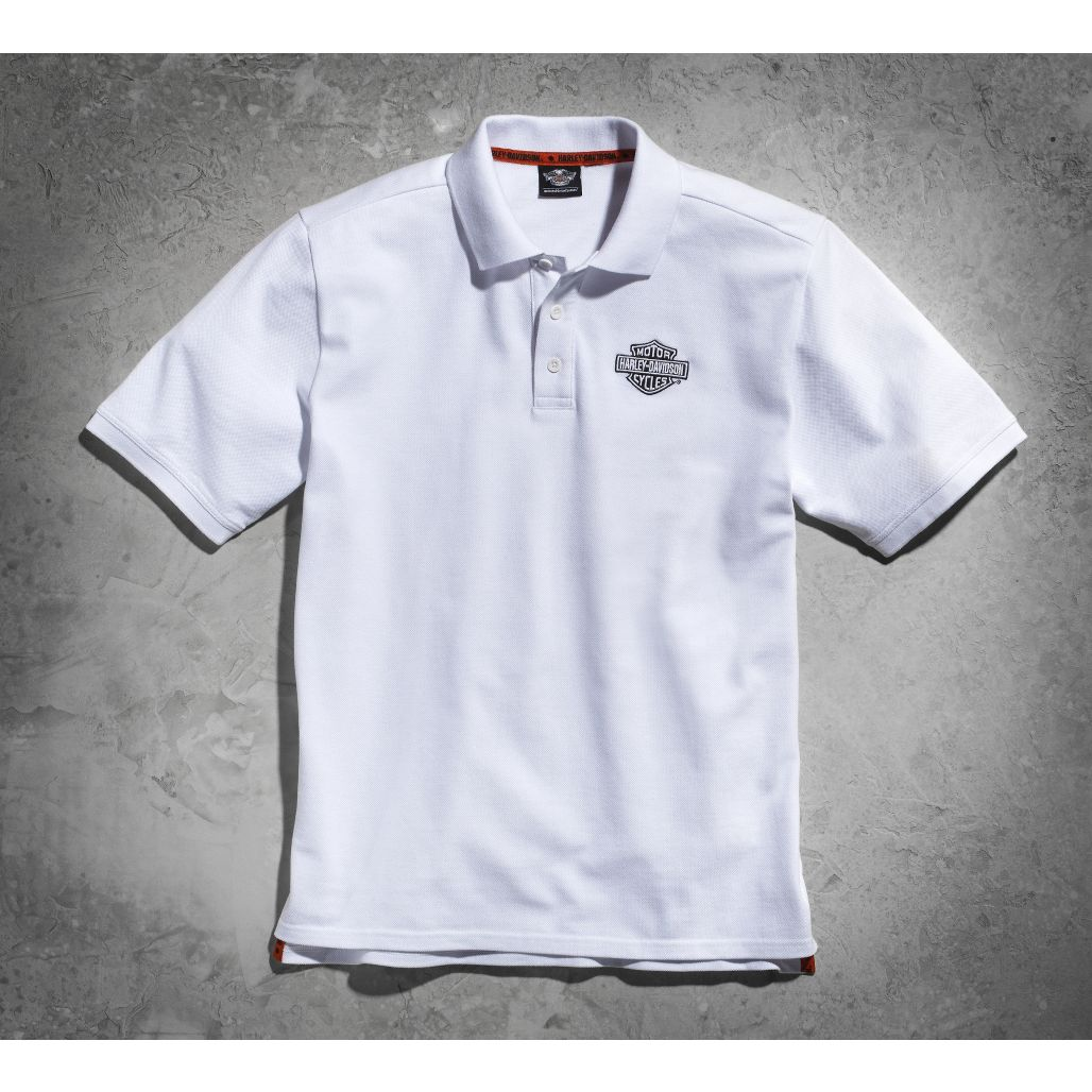 HARLEY-DAVIDSON ハーレーダビッドソン:Men's White Short Sleeve Knit Polo Shirt