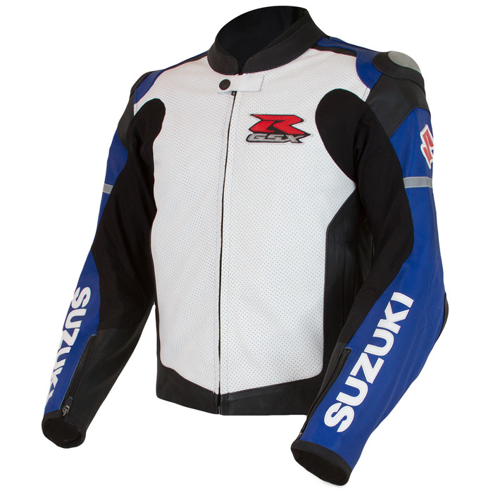 US SUZUKI 北米スズキ純正アクセサリー:GSX-R Leather Jacket, Blue/White