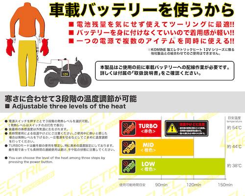 【KOMINE】EK-106 12V 電熱外套 - 「Webike-摩托百貨」