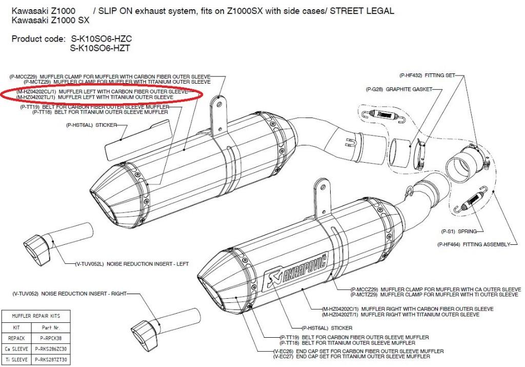 【リペアパーツ】M-HZ04202CL/1 muffler left with carbon fiber outer sleeve
