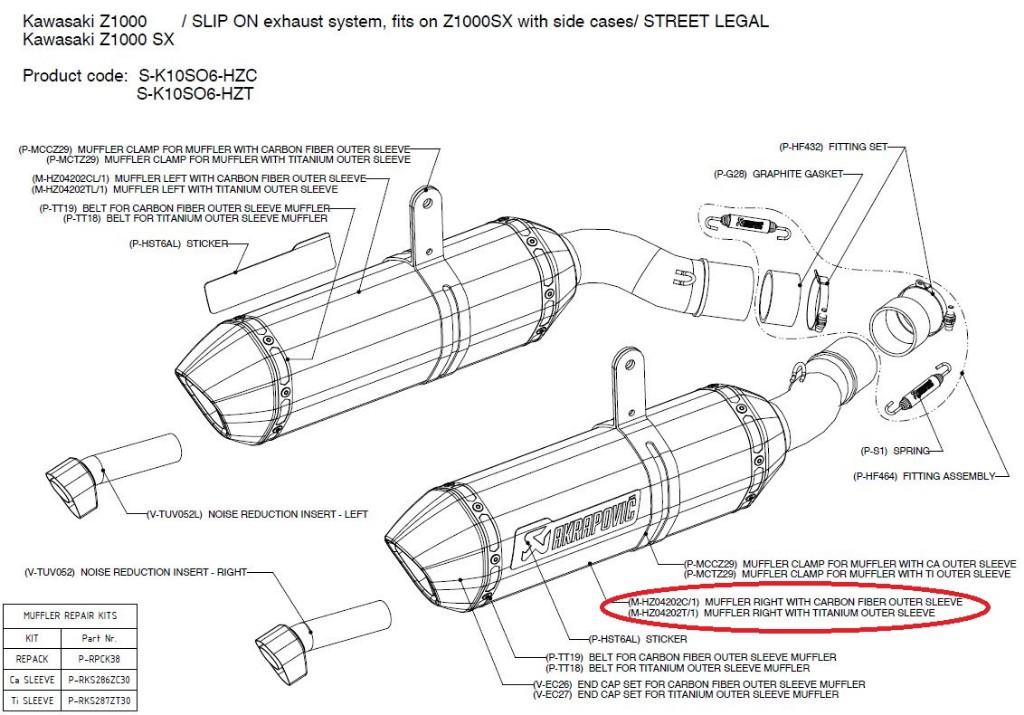 【リペアパーツ】M-HZ04202T/1 muffler right with titanium outer sleeve