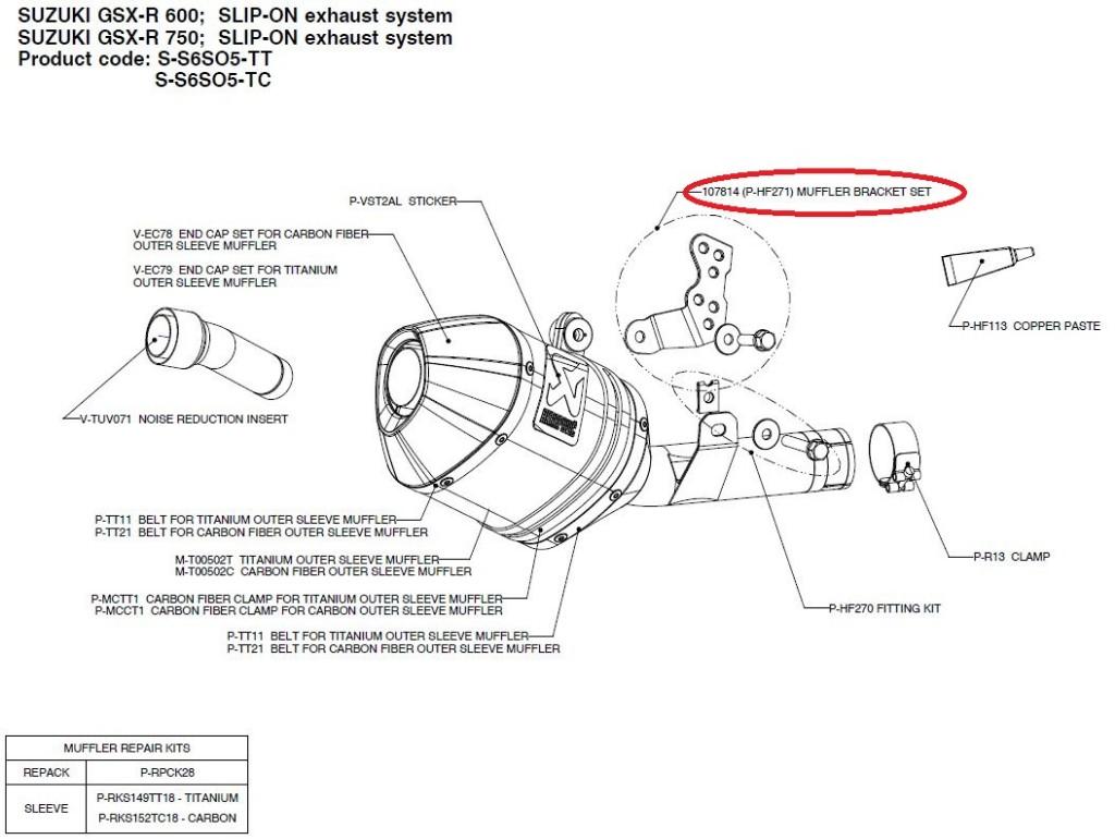 【リペアパーツ】P-HF271 107814 (p-hf271) muffler bracket set