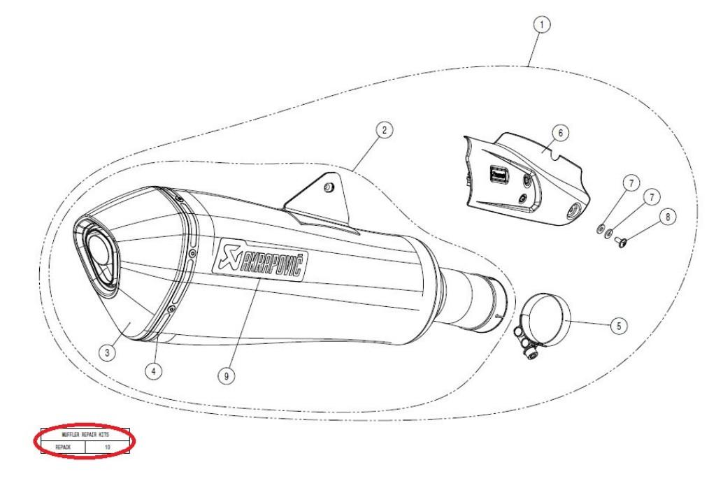 【リペアパーツ】P-RPCK103 muffler repack kit