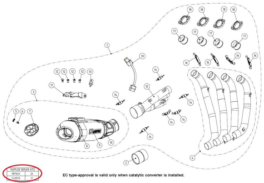 【リペアパーツ】P-RKS444AF195 muffler sleeve kit