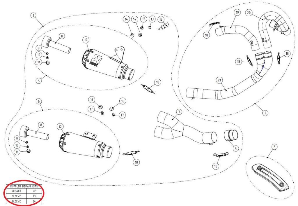 【リペアパーツ】P-RKS452CUB185 muffler sleeve kit (up)