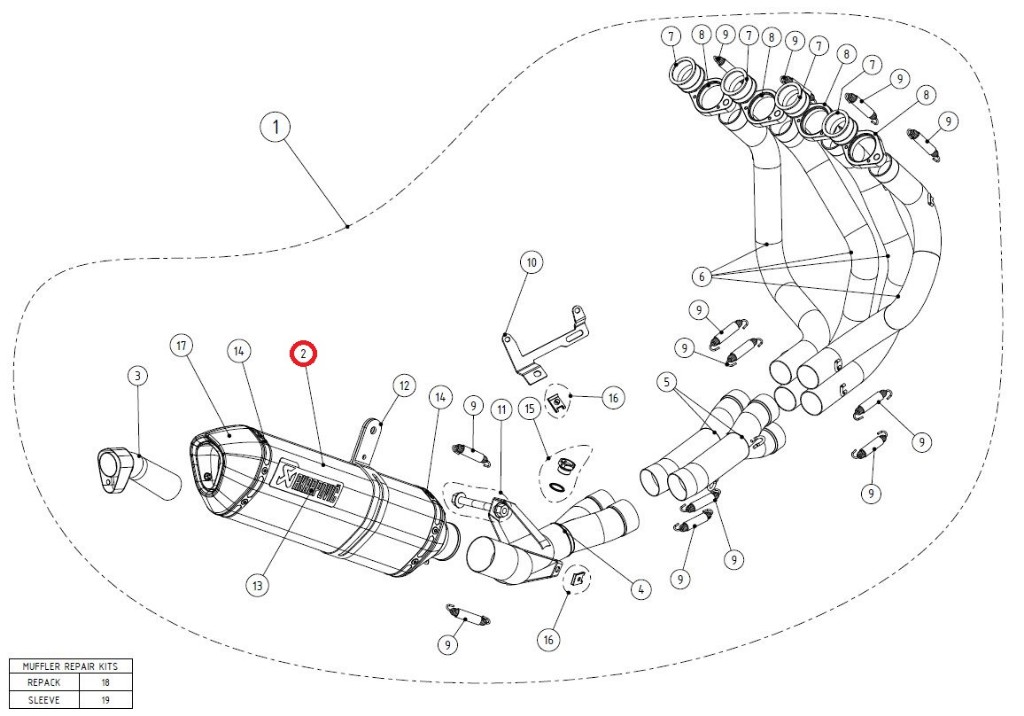 【リペアパーツ】M-Z02805C muffler
