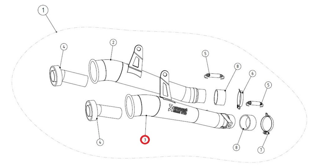 【リペアパーツ】LM-K10SO2TR link pipe ti right