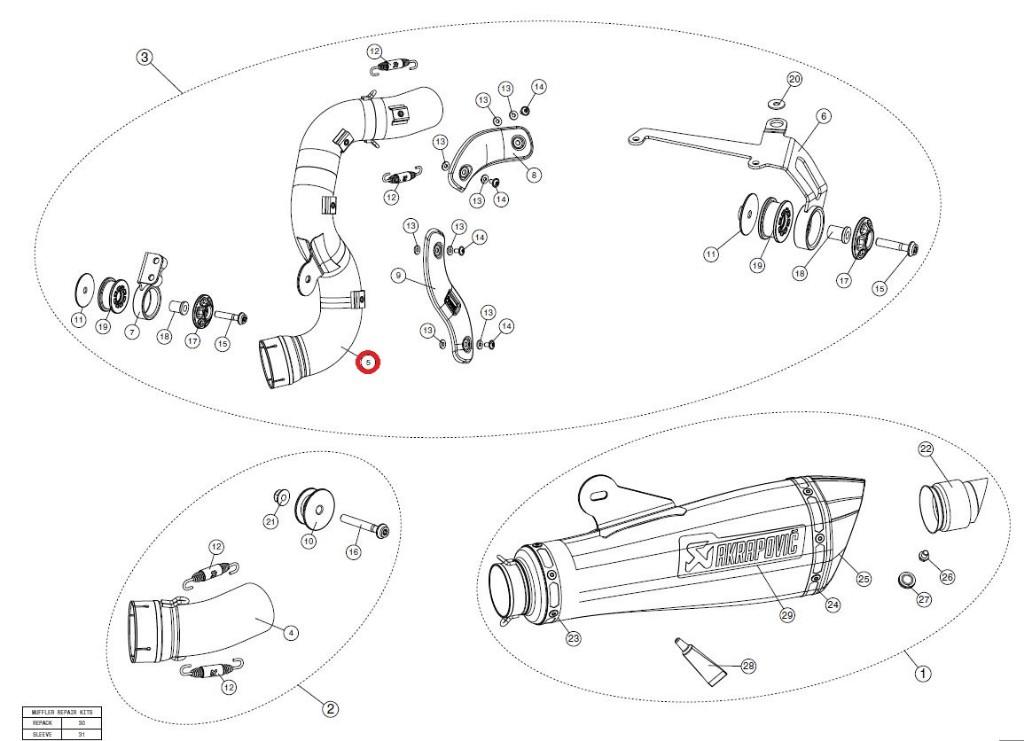 【リペアパーツ】L-B12SO6T/1 link pipe ti