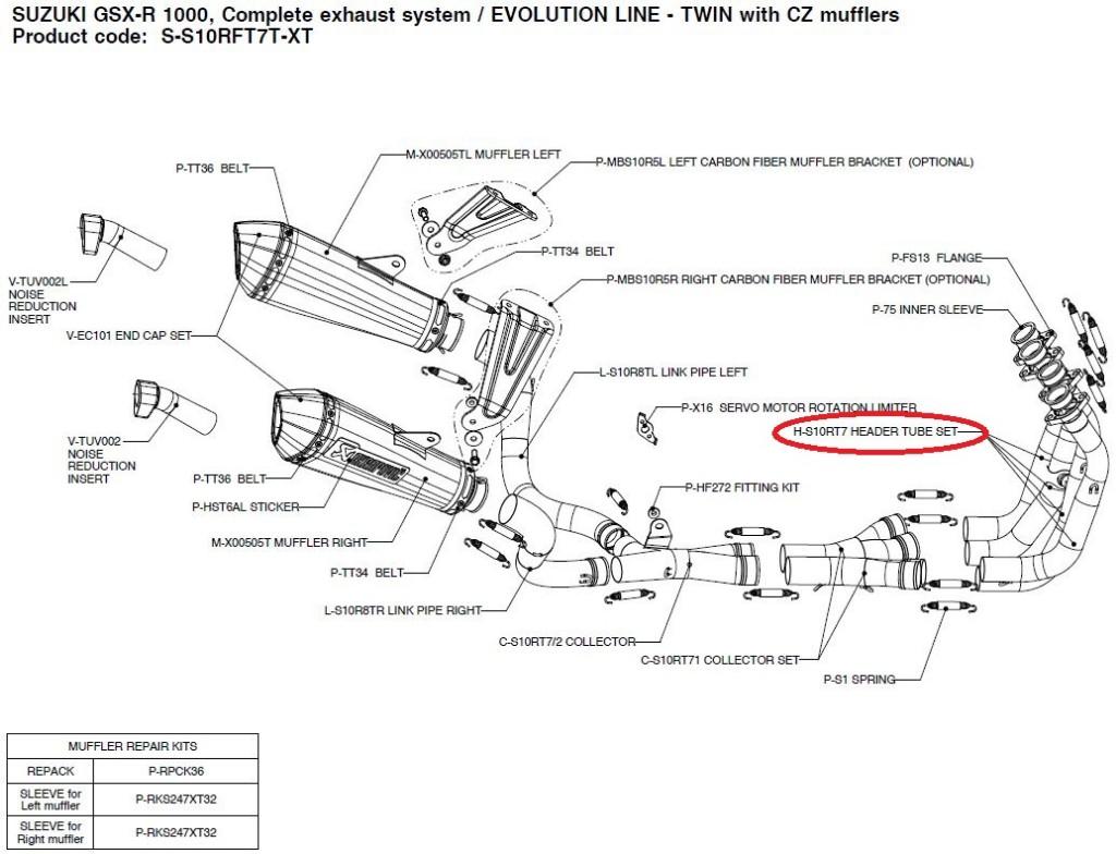 【リペアパーツ】H-S10RT7 header tube set