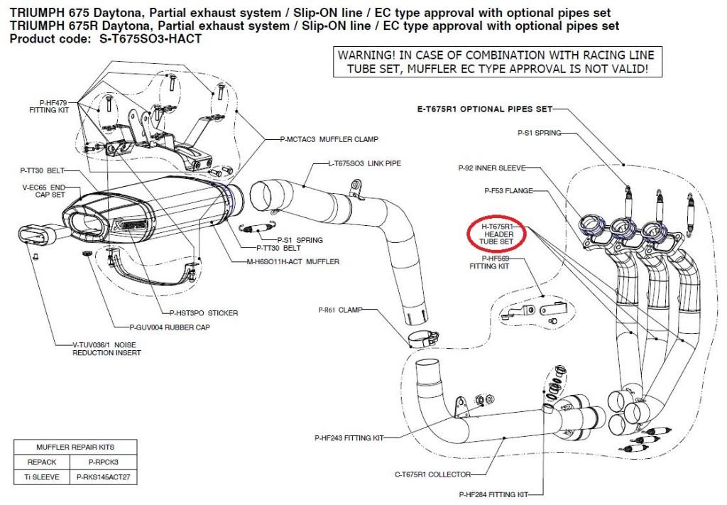 【リペアパーツ】H-T675R1 header tube set