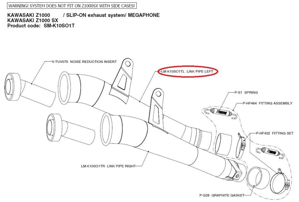 【リペアパーツ】LM-K10SO1TL link pipe left