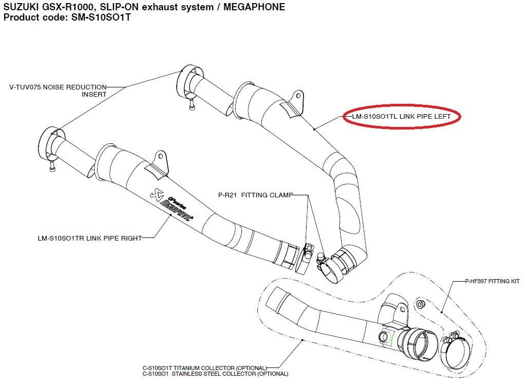【リペアパーツ】LM-S10SO1TL link pipe left