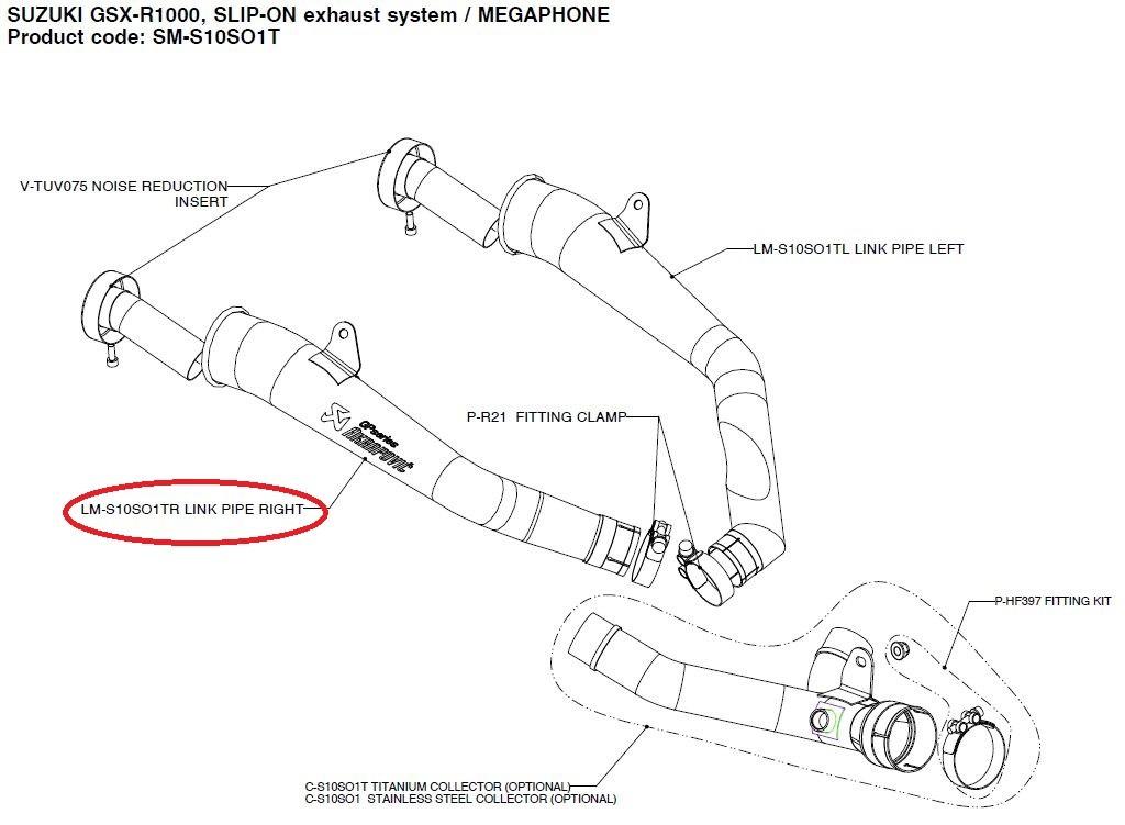 【リペアパーツ】LM-S10SO1TR link pipe right