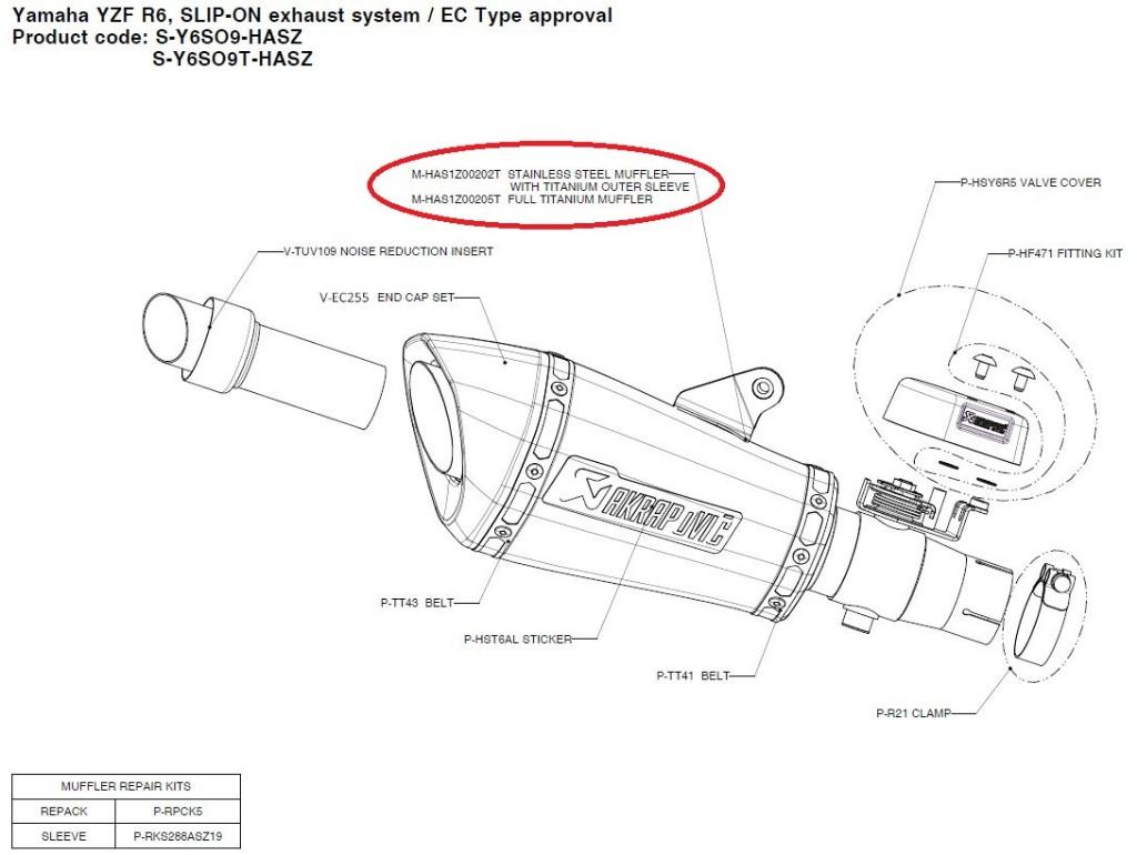 【リペアパーツ】M-HAS1Z00202T stainless steel muffler with titanium outer sleeve