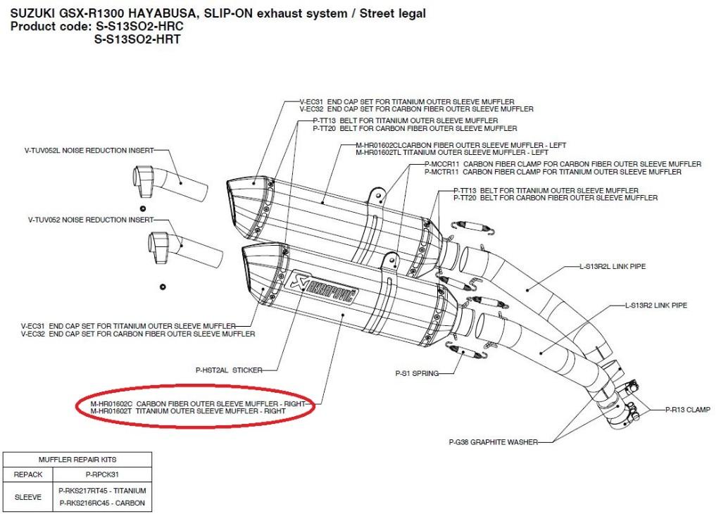 【リペアパーツ】M-HR01602T titanium outer sleeve muffler - right