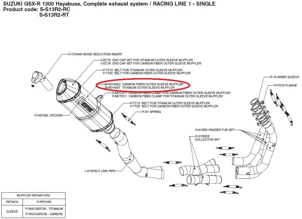 【リペアパーツ】M-R01405C carbon fiber outer sleeve muffler