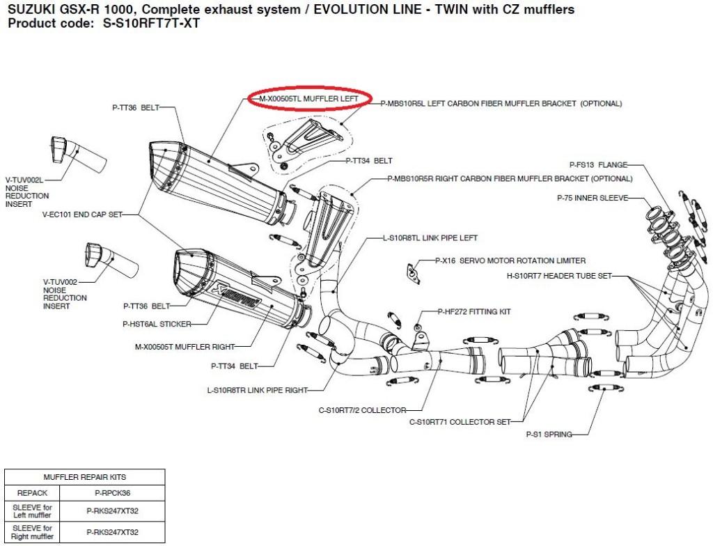 【リペアパーツ】M-X00505TL muffler left