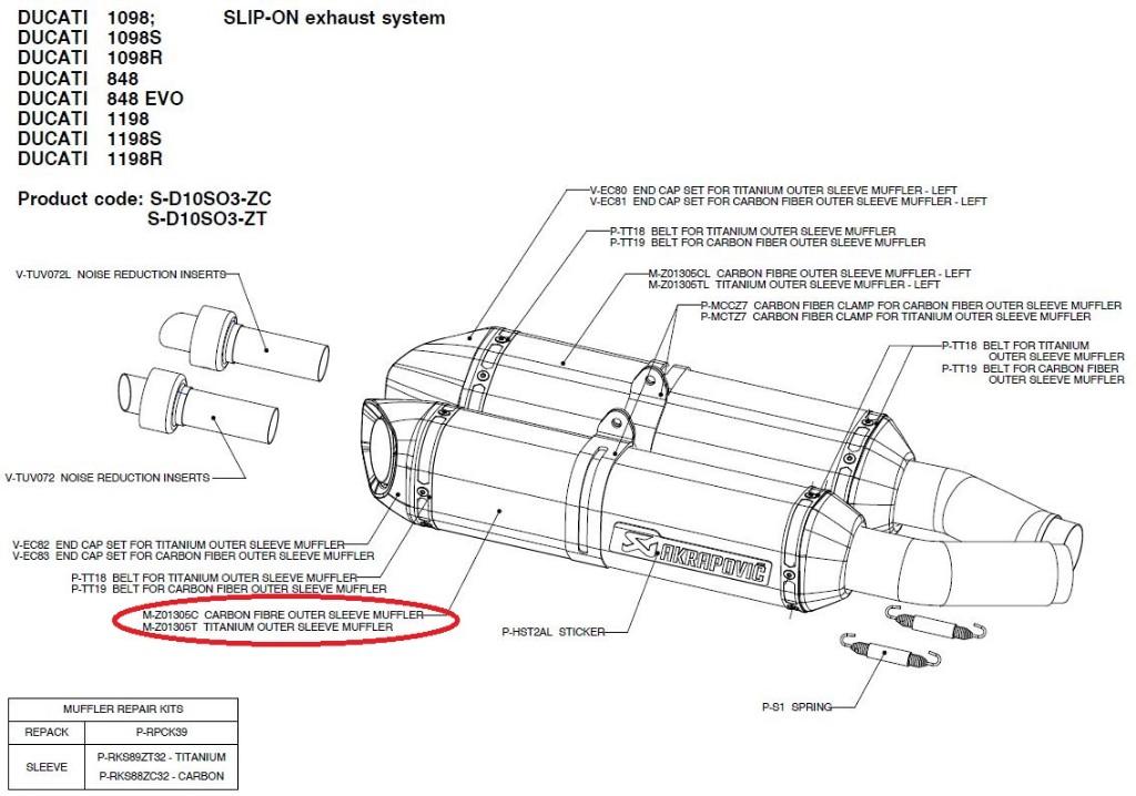 【リペアパーツ】M-Z01305C carbon fibre outer sleeve muffler