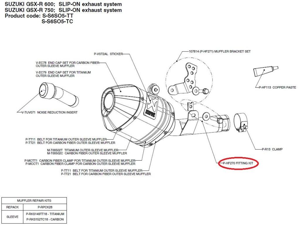 【リペアパーツ】P-HF270 fitting kit