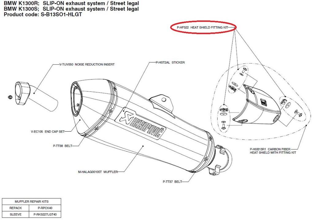 【リペアパーツ】P-HF322 heat shield fitting kit