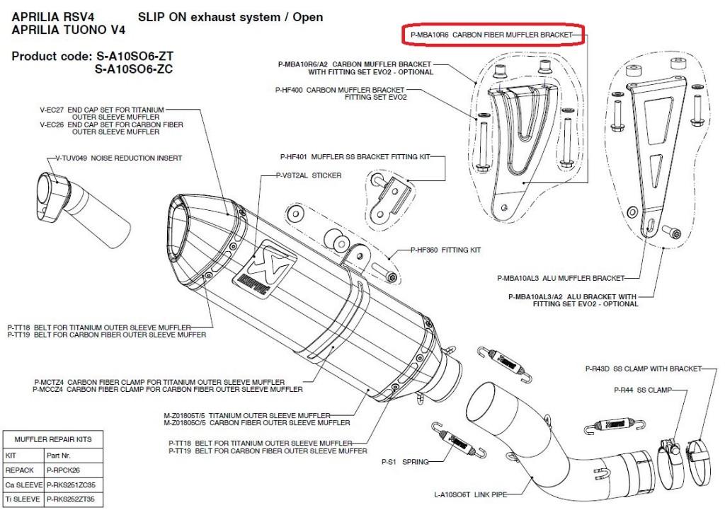 【リペアパーツ】P-MBA10R6 carbon muffler bracket