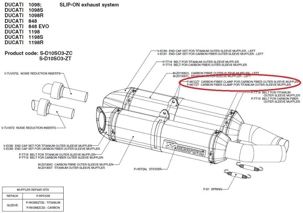 【リペアパーツ】P-MCCZ7 carbon fiber clamp for carbon fiber outer sleeve muffler