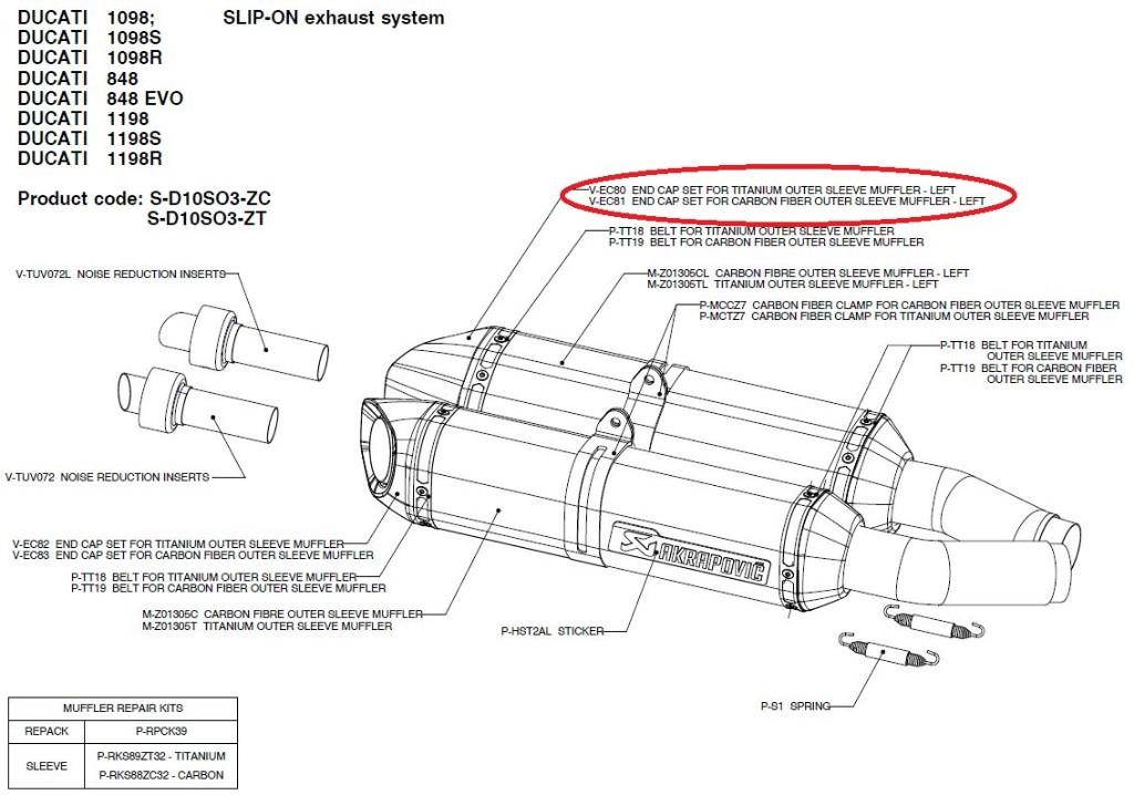 【リペアパーツ】V-EC81 end cap set for carbon fiber outer sleeve muffler - left