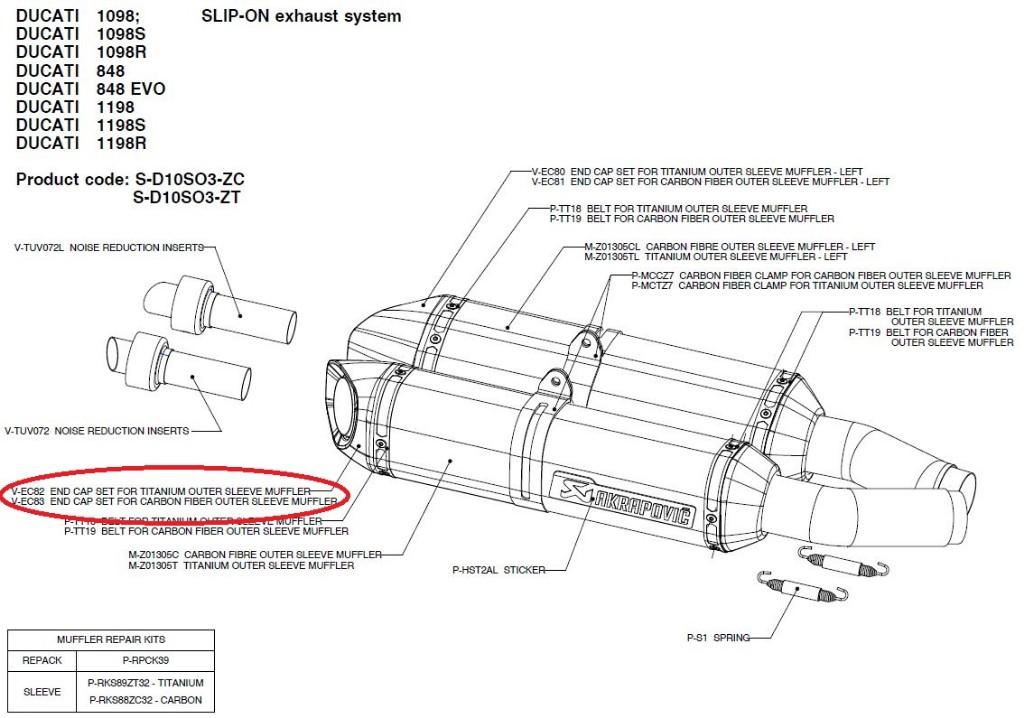 【リペアパーツ】V-EC82 end cap set for titanium outer sleeve muffler