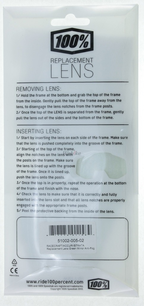 【100%】【部品】RACECRAFT/ACCURI 風鏡用防霧鏡片 - 「Webike-摩托百貨」