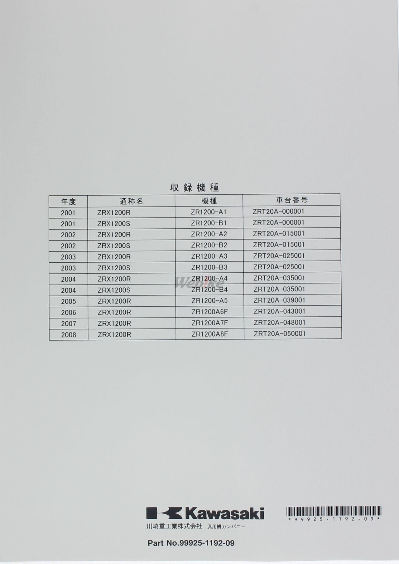 【KAWASAKI】ZRX1200/ZRX 1200S 維修手冊(基本版) - 「Webike-摩托百貨」