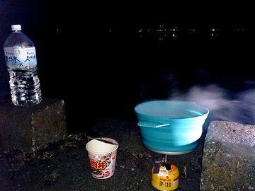 遊水池で朝飯    Webikeツーリング